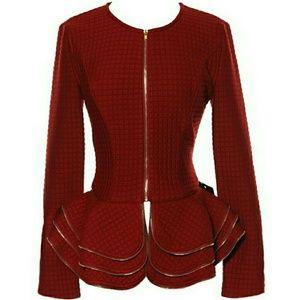 Jackets & Blazers - Burgundy Peplum Jacket NWT